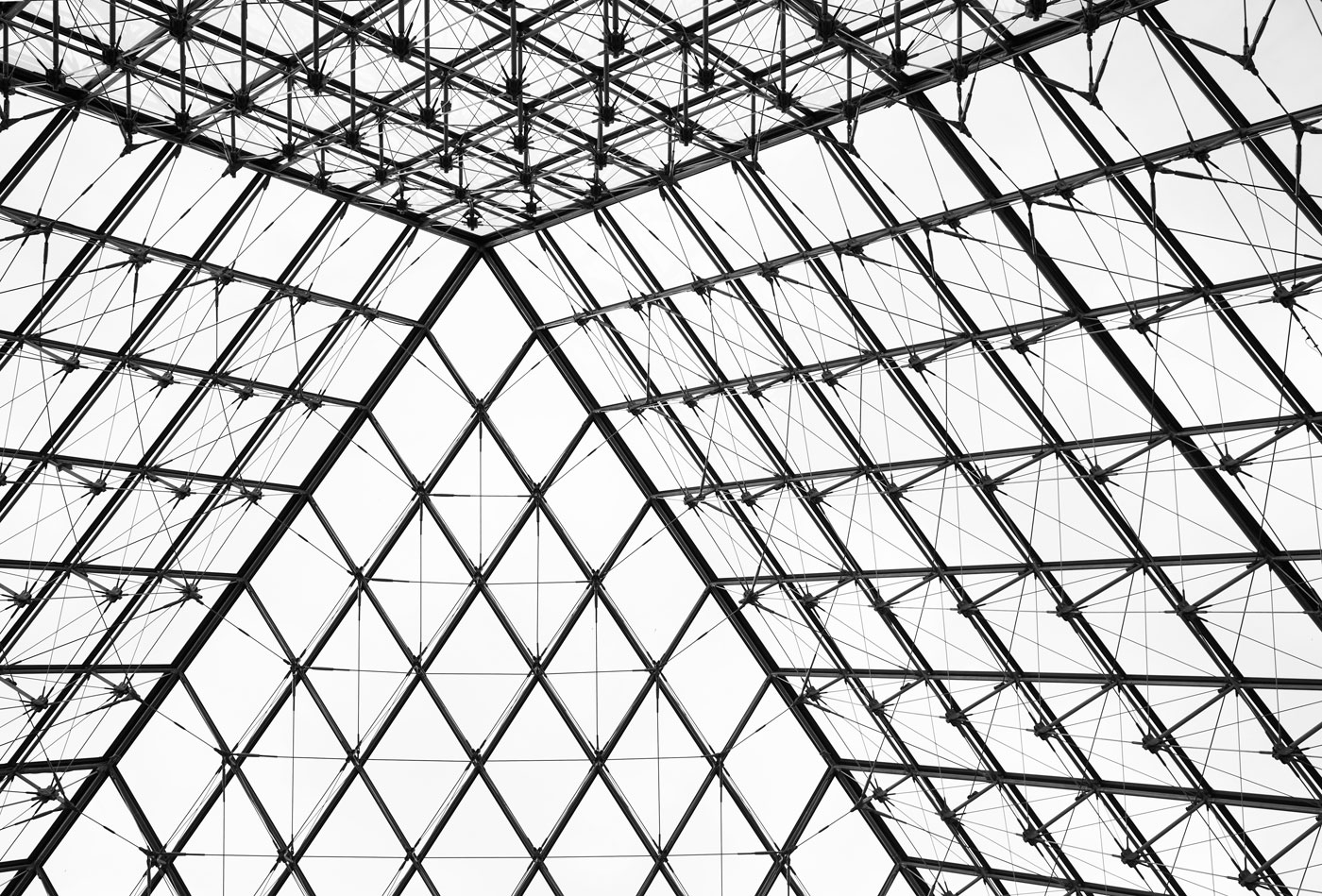 Interior of Pyramid, Muse du Louvre, Paris, France